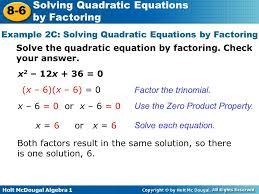 example 2c solving quadratic equations by factoring