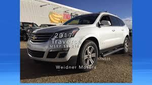new 2017 chevrolet traverse 2lt white 7 seater suv awd stock 17n035 weidner motors ltd