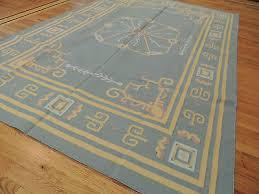 kilim reversible cotton area rug 6x9 geometric design blue gray yellow