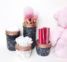 mason jar makeup brush holder. marble effect mason jar, bathroom decor, accessories, storage jars, makeup brush holder, housewarming gift, teen girl jar holder