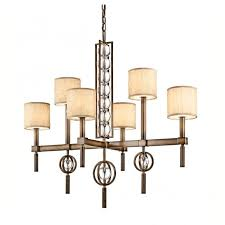 contemporary 6 light chandelier in bronze with crystal spheres fabric shades