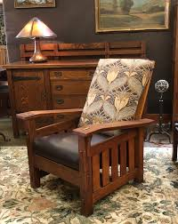 quaint art large vintage morris chair with leather seat and arts and crafts fabric on back
