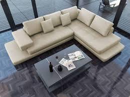 Lamont Ultra Modern Cream Leather Sectional Sofa Modern