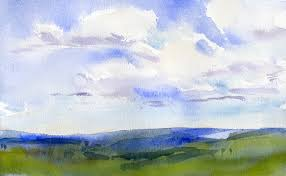 sketch of the day sky and clouds in watercolor