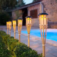 Contemporary Solar Outdoor Lighting Set Of Six Solar Bamboo Torch Lights Garden Torch
