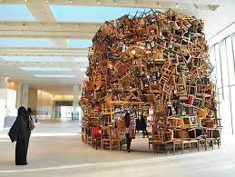 recycled chair sculpture in abu dhabi