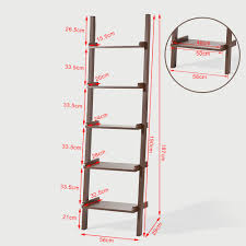 Haotian Leaning Ladder Book Shelf Made Of Wood With Five Floors Bookcase Wall Shelffrg17 Brbrown