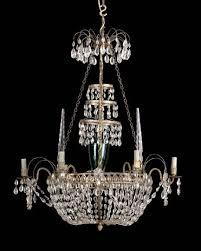 swedish gilt brass and cut glass 6 light chandelier first quarter 19th