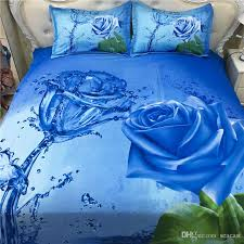 2017 new fashion blue rose pattern 3d bedding set home textiles twin queen king size bed sheets quilt pillow case whole 3d bedding set home textiles