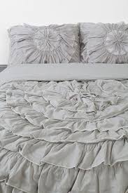 simple style bedroom with grey ruffle bedding set plum bow ruffle medallion duvet cover