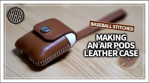 leather craft making an apple airpods leather case