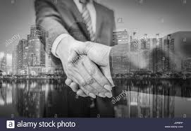 Black Business Background Business Man Business Handshake And Business People On City Stock