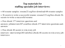Staffing Specialist Resumes Staffing Specialist Resume Sample Pdf Ebook Free Download