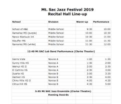 Jazz Band Seating Chart Jazz Festival Mt Sac Jazz Program