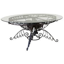 oval dining table art deco: spectacular oval wrought iron art deco dining table france s