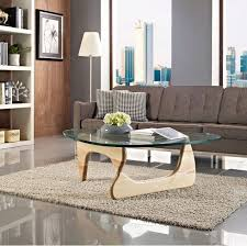 triangle glass coffee table with wooden legs