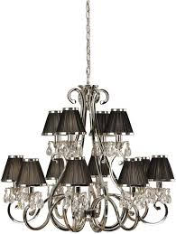 oksana large nickel 12 light crystal chandelier black shades