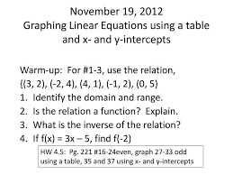 november 19 2016graphing linear equations using a table and x and y intercepts