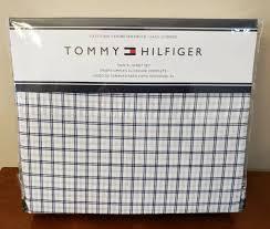 tommy hilfiger twin xl sheet set cotton blend dorm size navy gray plaid nip