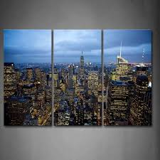 >3 piece wall art painting new york buildings are full of light print  3 piece wall art painting new york buildings are full of light print on canvas the