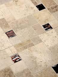 brown travertine glass mix kitchen backsplash tile