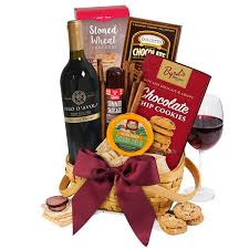 this gourmet experience includes wine and cheese gift basket