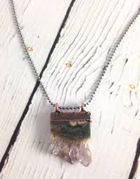 raw amethyst slice pendant on 18 sterling chain necklace
