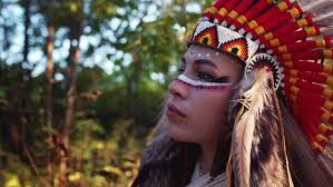 portrait of beautiful independent indian woman in native american indian headdress with bright makeup looking somewhere autumn forest