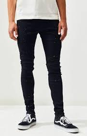 mens black moto destroy stacked skinny jeans black pacsun pants