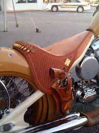 brown seats dyna or other motorcycle revolver holster