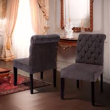 grey dining room chair. Dining Room : Nailhead Set 4 Grey Chairs French Country Printed Linen Tufted Wood And Chair