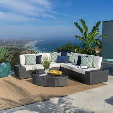 santa cruz grey 6 piece wicker outdoor