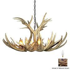 canadian antler design mule deer 9 light natural brown traditional abstract chandelier