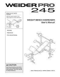 Weider Pro 245 Bench 15679 Users Manual Manualzz Com