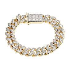 miami cuban link bracelet 14k gold finish simulated diamonds box lock custom hip hop