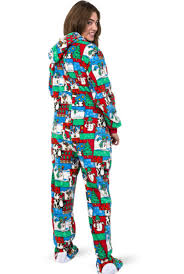 Big Feet Pjs Size Chart Winter Fun Christmas Adult Footed Pajamas With Hood For Men Women