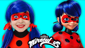 kids makeup miraculous ladybug cosplay pretend play with doll and magic transform