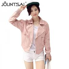 pink leather blazer for women