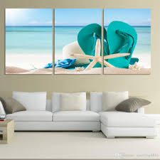 2018 3 panel large beach canvas seascapes shoses and star paintings wall art coconut home decor sea picture unique gift no frame from xiaofang8810  on 3 panel wall art beach with 2018 3 panel large beach canvas seascapes shoses and star paintings