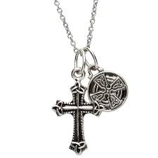 two piece celtic cross trinity knot pendant and