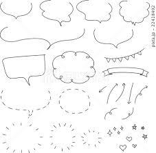 ナチュラルな手書きのフキダシ素材のセットのイラスト素材 22418492