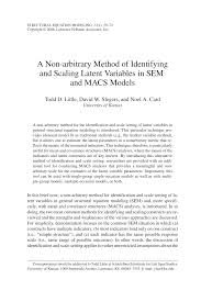 pdf a non arbitrary method of identifying and scaling latent variables in sem and macs models