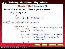 2 3 solving multi step equations check it out example 3b solve the
