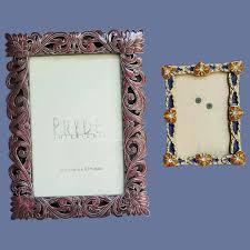 2 vine enamel metal picture frames