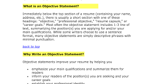 Good Objective Statements For Resumes Career Objective Statements