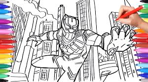 black panther coloring pages draw and color marvel superheroes avengers coloring book for kids
