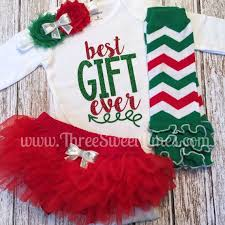 Baby Girl Christmas Outfit Best Gift Ever by ThreeSweetLimes Babies First  Christmas Christmas Red And Green December Baby Shower Gift