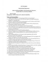 Housekeeping Resume Example Housekeeper Best Duties And