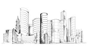 modern architecture skyscrapers sketches. Wonderful Modern Modern Urban Sketch City Center With Skyscraper Building Cityscape Animated  Available In 4k UHD FullHD And HD 3d Video Animation Footage Motion Background   Throughout Architecture Skyscrapers Sketches