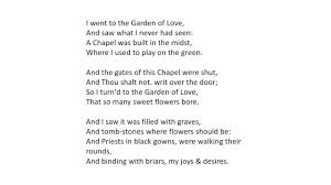 the garden of love by william blake ysis